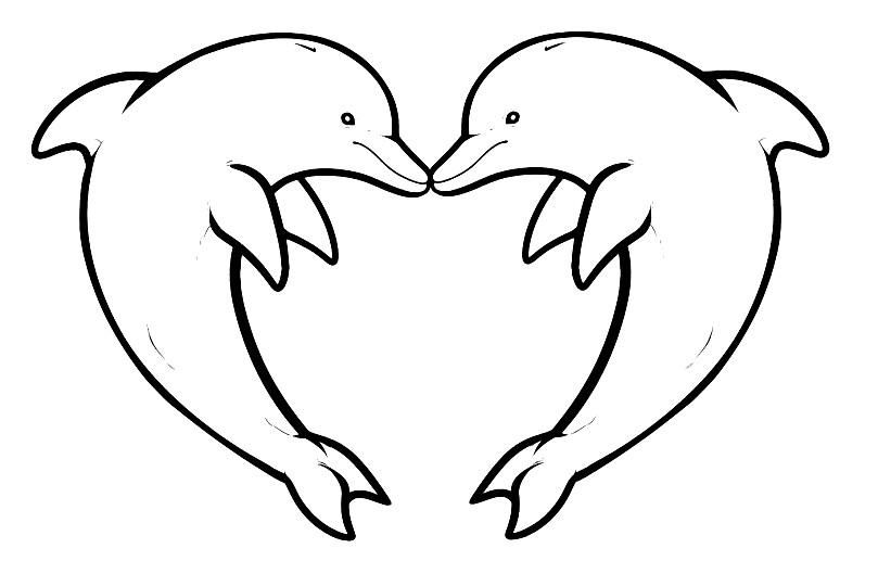 Раскраска сердце с дельфинами