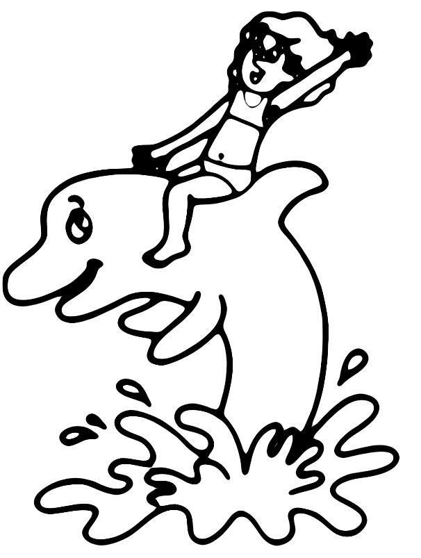 Раскраска мальчик на дельфине