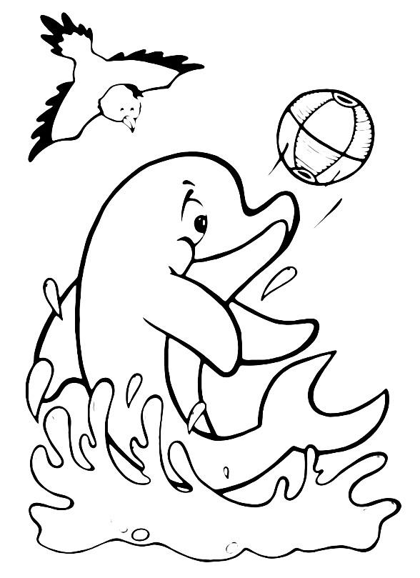 Раскраска дельфин с мячиком