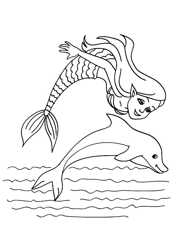 Раскраска дельфин и русалка