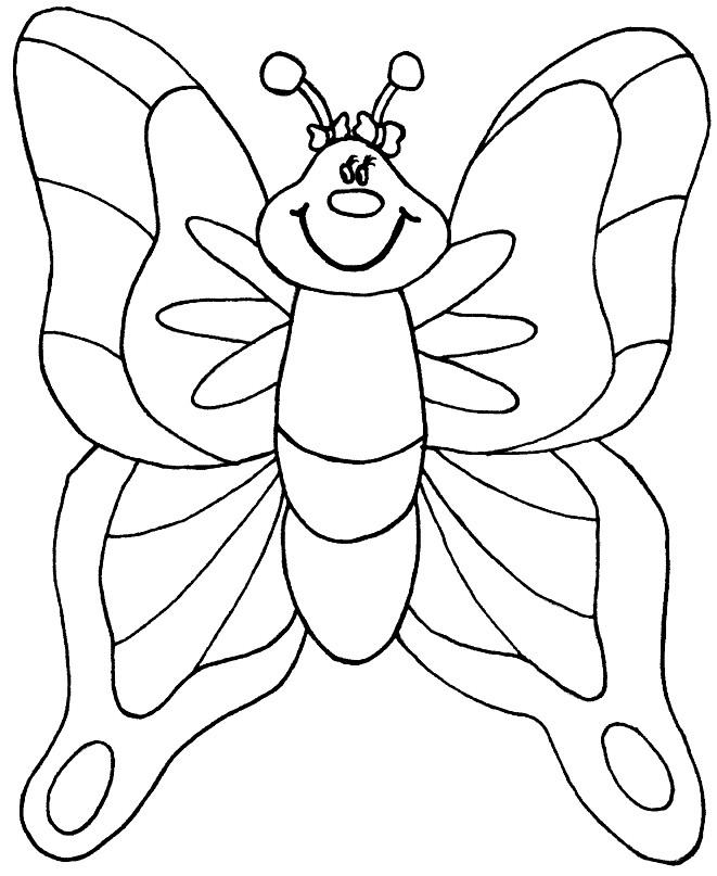 Раскраска бабочка с большими крылышками