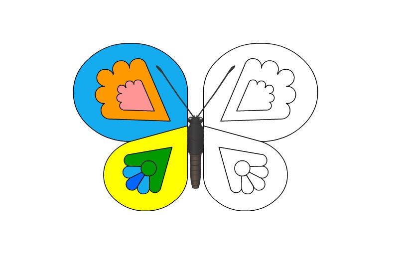 Раскраска бабочка с узорами на крыльях