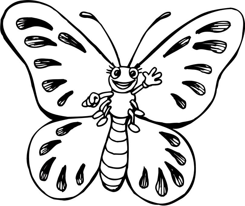 Раскраска веселая бабочка