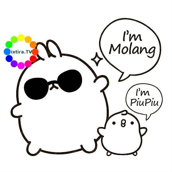 Раскраска крутой Моланг и Пиу-Пиу