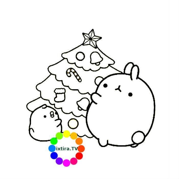 Раскраска Моланг и Новогодняя елка