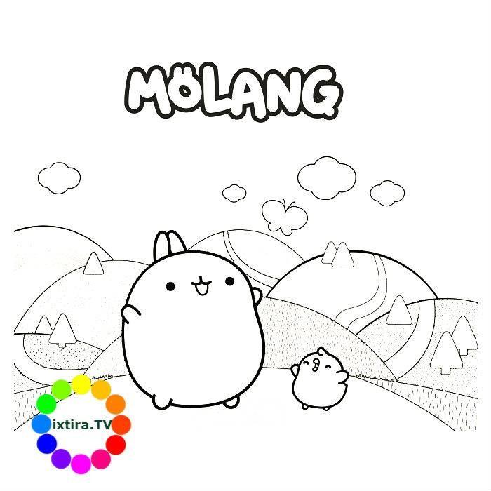 Раскраска Моланг с другом Пиу-Пиу
