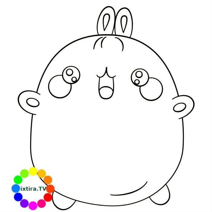 Раскраска веселый кролик Моланг