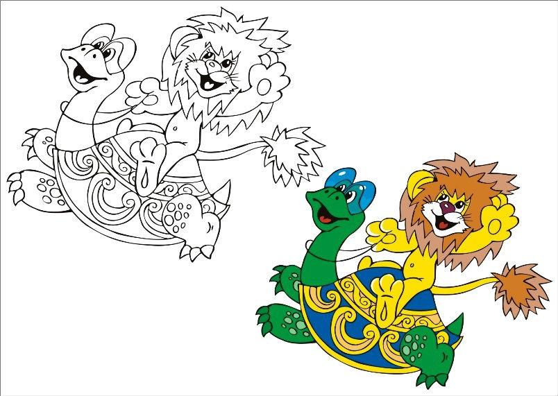 Раскраска черепаха и львенок | Раскраски для детей ...