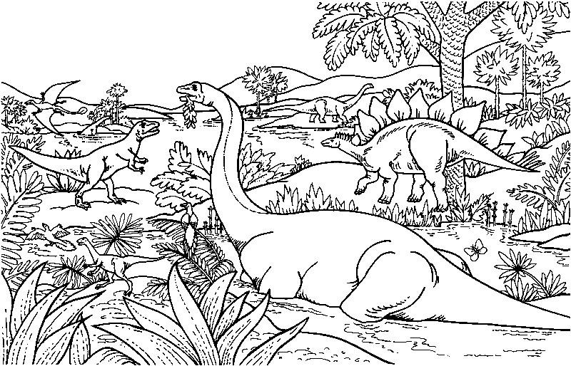 Раскраска мир динозавров