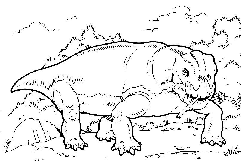 Раскраска злой динозавр