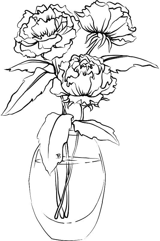 Раскраска букет в стеклянной вазе