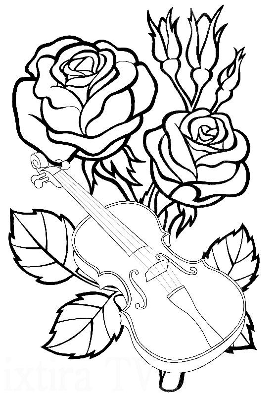 Раскраска розы со скрипкой