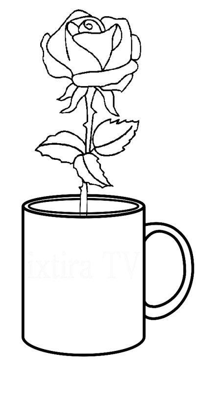 Раскраска роза в стакане