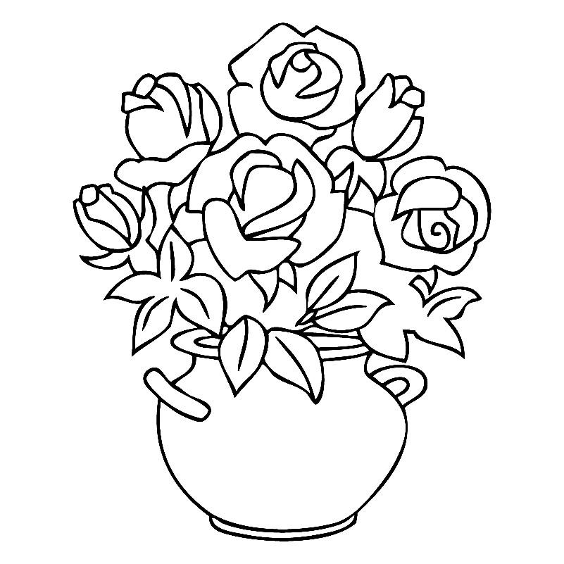 Раскраска роза в горшке