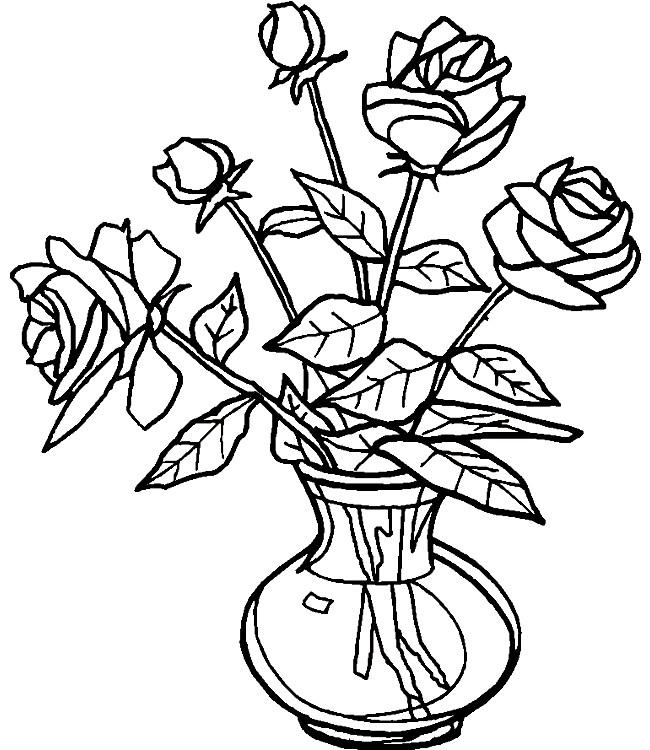 Раскраска розы в вазе
