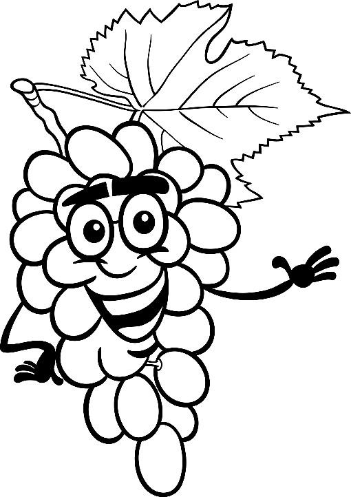 Раскраска смешной виноград