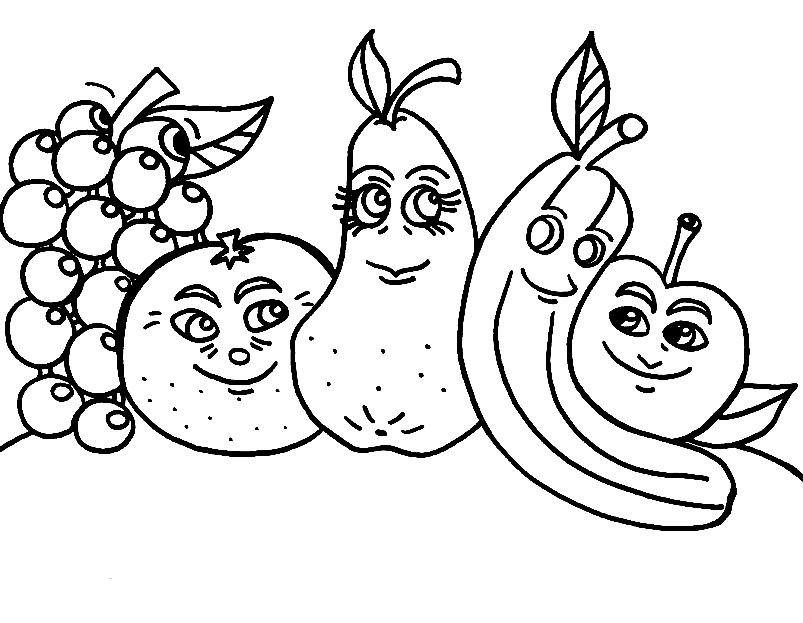 Раскраска веселые фрукты | Раскраски для детей распечатать ...