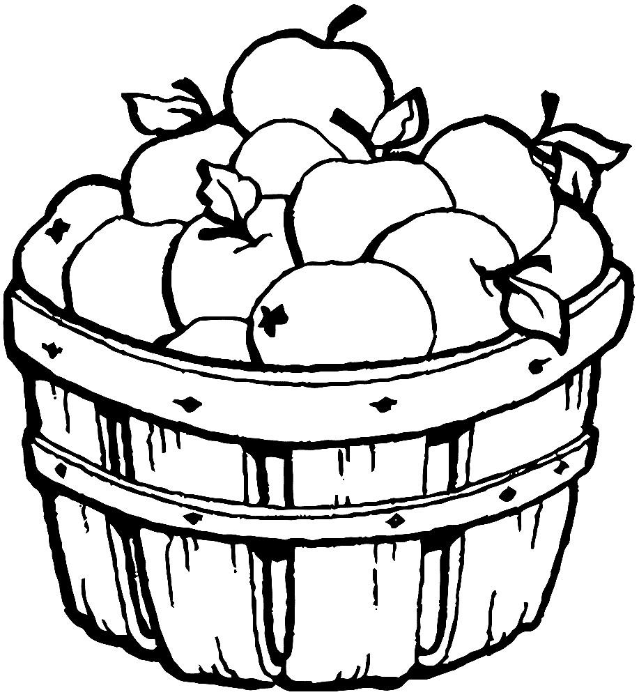Раскраска корзина с яблоками