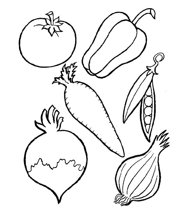 Раскраска полезные овощи
