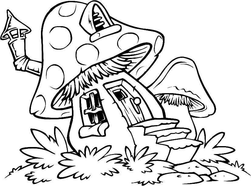 Раскраска домик мухомор