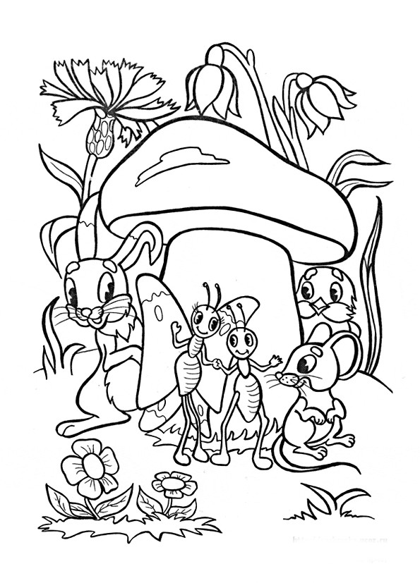 Раскраска зверята под грибом