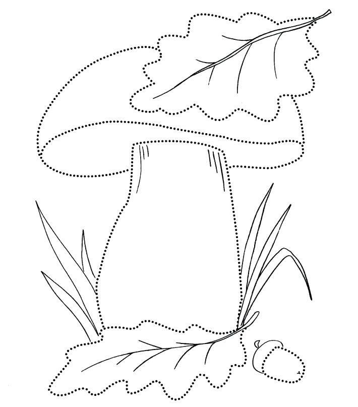 Раскраска гриб с листочком