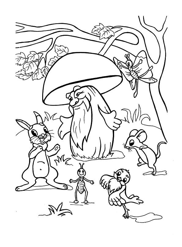 Раскраска гриб из мультика | Раскраски для детей ...