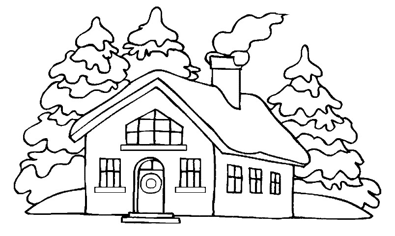 Раскраска зимний домик