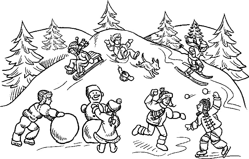 Раскраска зима в России