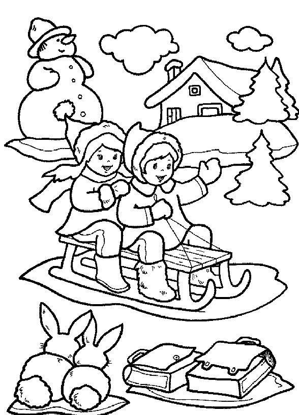 Раскраска зимние каникулы