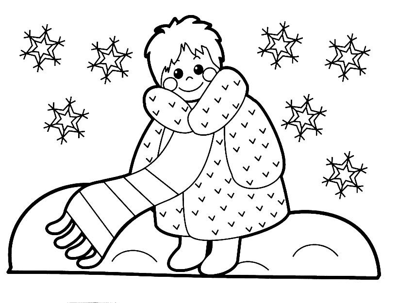 Раскраска мальчик зимой