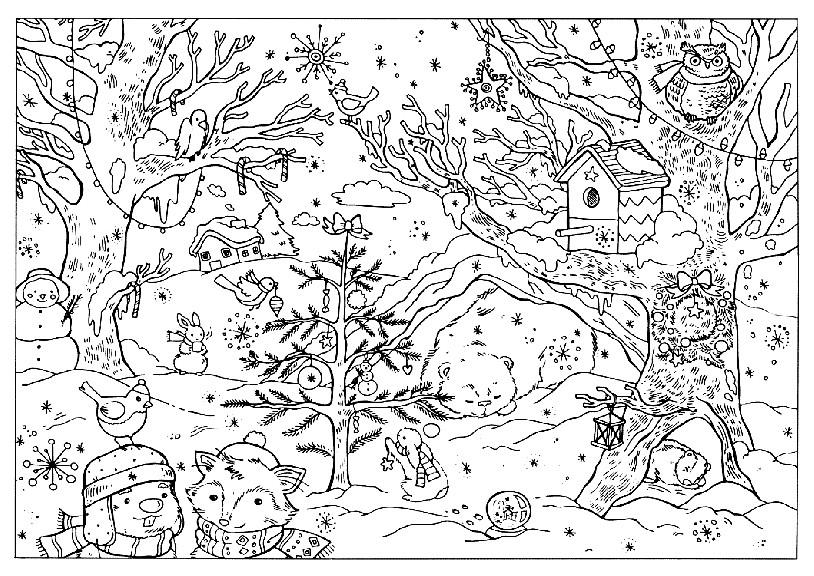 Раскраска зима в лесу с животными