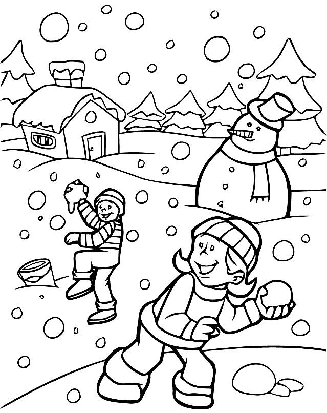 Раскраска игра в снежки