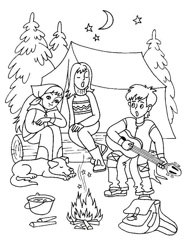 Раскраска летний лагерь