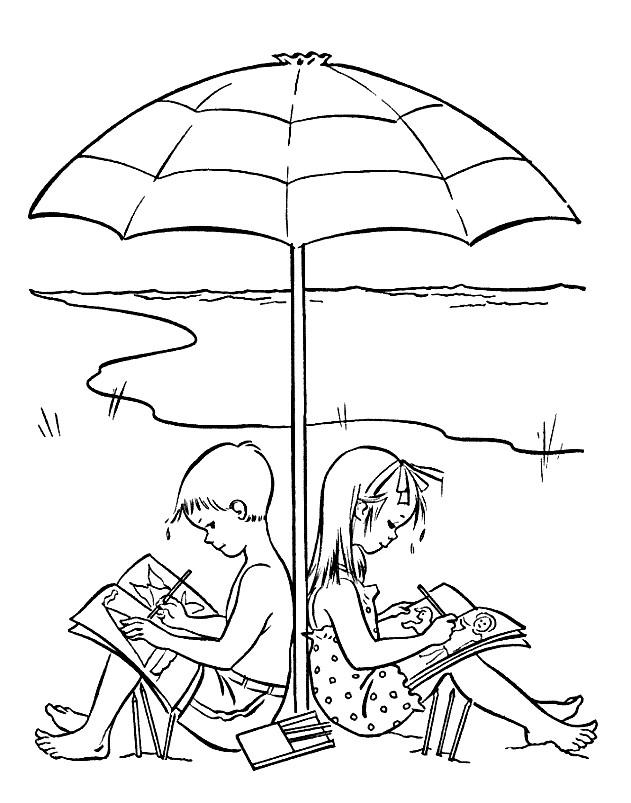 Раскраска дети летом