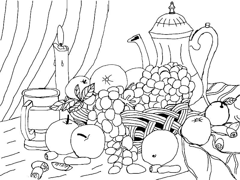 Раскраска натюрморт фрукты на столе