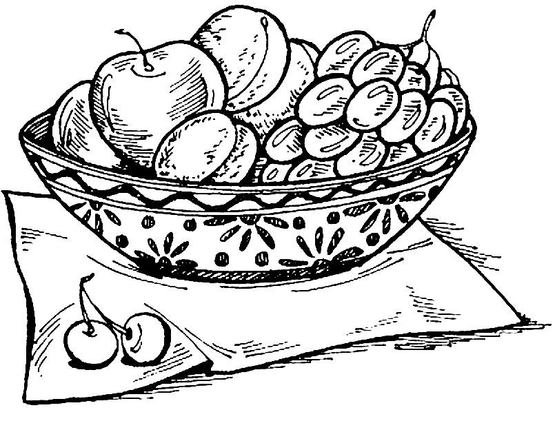 Раскраска виноград и яблоки в тарелке