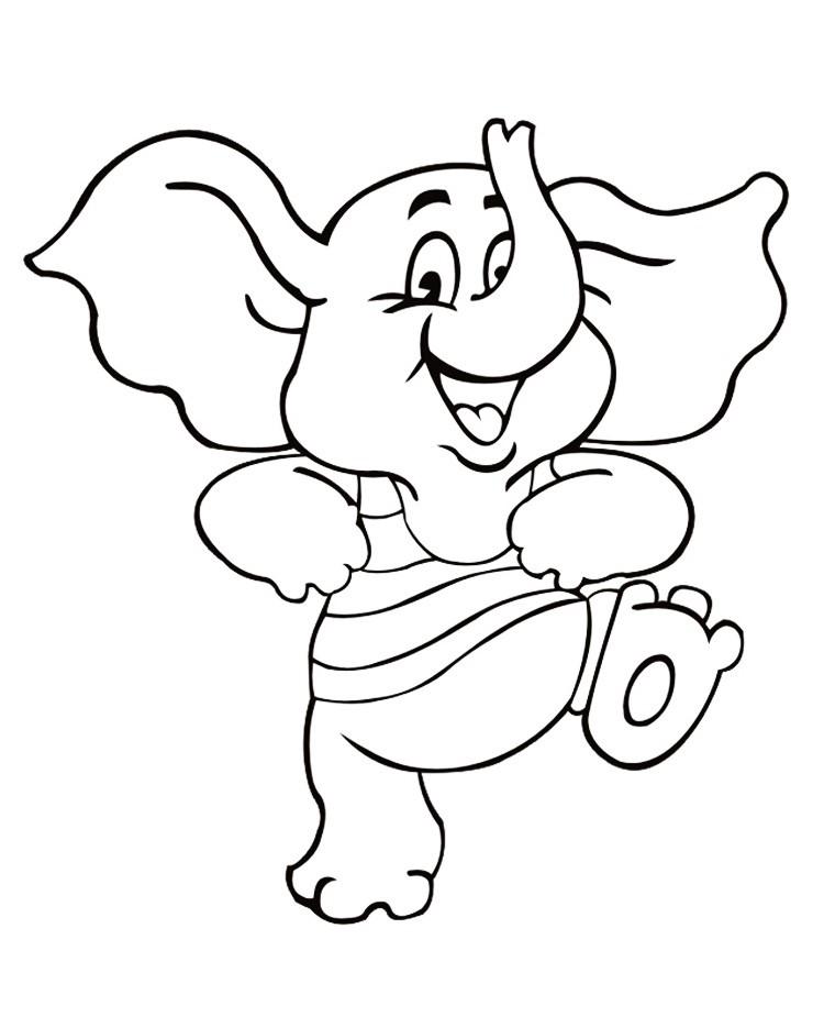 Раскраска слон из мультика
