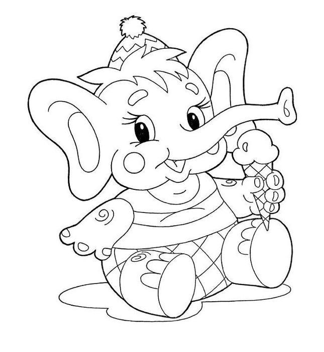 Раскраска слон девочка