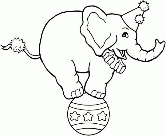 Раскраска цирковой слон