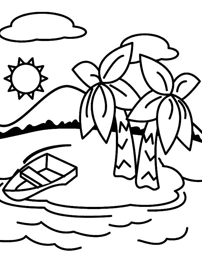 Раскраска море и пальмы
