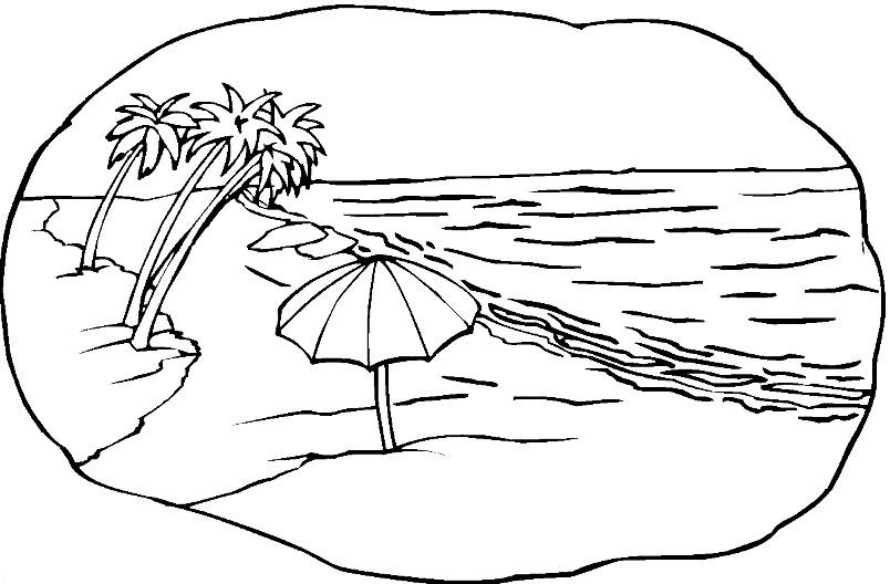 Раскраска море и пляж