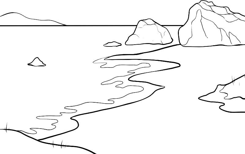 Раскраска берег моря