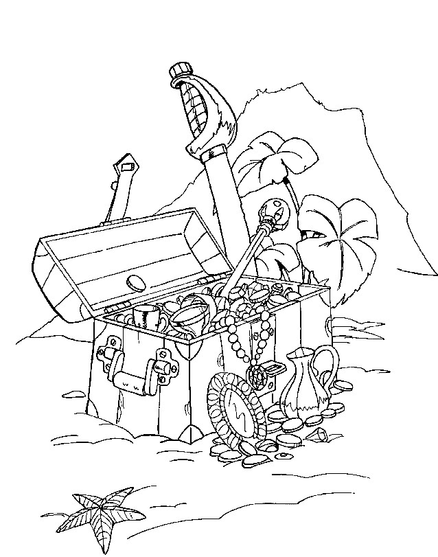 Раскраска пиратские сокровища на дне моря