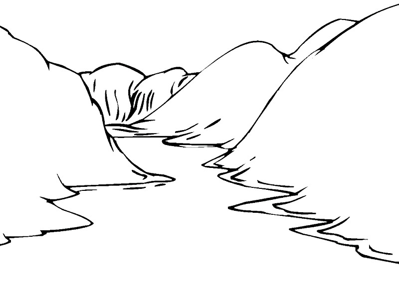 Раскраска горы и река