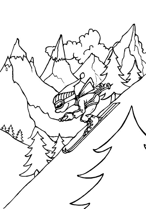 Раскраска горы зимой
