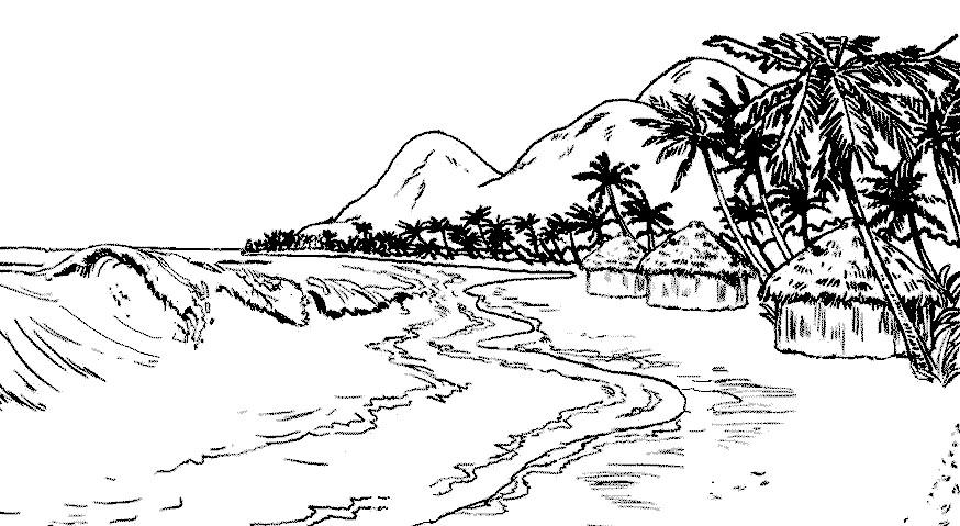 Раскраска горы и море