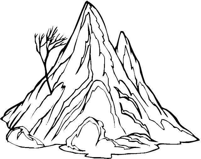 Раскраска одинокая гора
