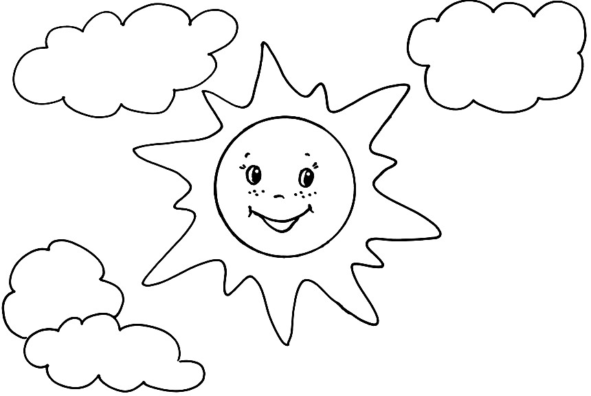 Раскраска солнце с облаками