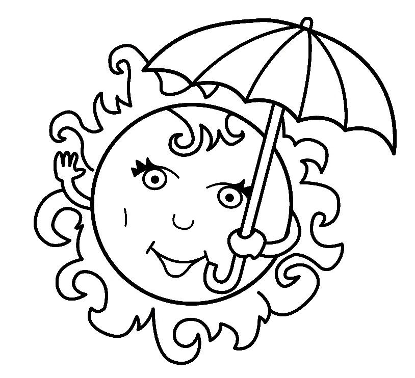 Раскраска солнце под зонтом